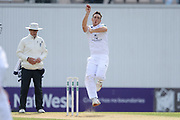 Kyle Abbott of Hampshire bowing during the Specsavers County Champ Div 1 match between Hampshire County Cricket Club and Middlesex County Cricket Club at the Ageas Bowl, Southampton, United Kingdom on 16 April 2017. Photo by David Vokes.