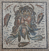 Mosaic of a mask in the sea, Roman, 2nd - 3rd century AD, discovered in 1959 in the Salon de los Mosaicos in a wealthy Roman house in the Plaza de la Corredera, in the Alcazar de los Reyes Cristianos or Palace of the Catholic Kings, in Cordoba, Andalusia, Southern Spain. The alcazar was rebuilt during the Umayyad Caliphate in the 10th century and used as a royal fortress by the Moors and the Christians, as a base for the Spanish Inquisition, and as a prison. The alcazar is a national monument of Spain, and the historic centre of Cordoba is listed as a UNESCO World Heritage Site. Picture by Manuel Cohen