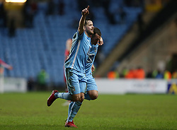 Coventry City's Marc McNulty celebrates scoring the third goal against Swindon Town