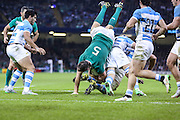 Devin Toner of Ireland goes over the top during the Rugby World Cup Quarter Final match between Ireland and Argentina at Millennium Stadium, Cardiff, Wales on 18 October 2015. Photo by Shane Healey.