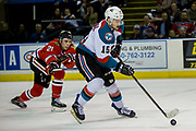 KELOWNA, CANADA - APRIL 07:  Brendan De Jong #21 of the Portland Winterhawks, Tomas Soustal #15 of the Kelowna Rockets at the Kelowna Rockets game on April 07, 2017 at Prospera Place in Kelowna, British Columbia, Canada.  (Photo By Cindy Rogers/Nyasa Photography,  *** Local Caption ***