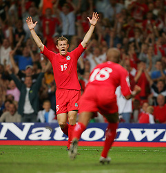 CARDIFF, WALES - Wednesday, September 8, 2004: Wales' Paul Parry celebrates after Robert Earnshaw scores the equalising goal against Northern Ireland during the Group Six World Cup Qualifier at the Millennium Stadium. (Pic by David Rawcliffe/Propaganda)