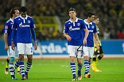 26.11.2011, Signal Iduna Park, Dortmund, GER, 1. FBL, Borussia Dortmund vs FC Schalke 04, im Bild Enttaeuschung Christian Fuchs (#23 Schalke), Joel Matip (#32 Schalke), Klaas-Jan Huntelaar (#25 Schalke), Ciprian Marica (#8 Schalke) nach der Niederlage // during Borussia Dortmund vs. FC Schalke 04 at Signal Iduna Park, Dortmund, GER, 2011-11-26. EXPA Pictures © 2011, PhotoCredit: EXPA/ nph/ Kurth..***** ATTENTION - OUT OF GER, CRO *****