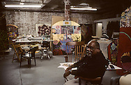 New York. Brooklyn. Juan Sanchez (US) , DUMBO area, artist studio in Brooklyn; Juan Sanchez (US) origin Porto Rico  New York  Usa /   Dumbo, atelier d'artistes à Brooklyn;  Juan Sanchez (US) d'origine portoricaine  New York  USa