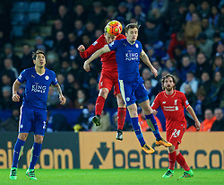 LEICESTER, ENGLAND - Monday, February 1, 2016: Liverpool's Adam Lallana in action against Leicester City's Andy King during the Premier League match at Filbert Way. (Pic by David Rawcliffe/Propaganda)