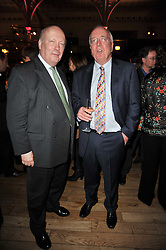Left to right, LORD FELLOWES OF WEST STAFFORD and PETER ROCHE Chief Executive at Orion Publishing Group at the annual Orion Publishing Group's Author party held in the Paul Hamlyn Hall, The Royal Opera House, Covent Garden, London on 15th February 2011.