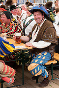 Villagers in costume at beer festival in the village of Klais in Bavaria, Germany
