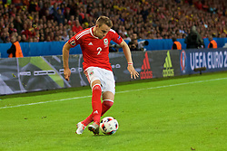 LILLE, FRANCE - Friday, July 1, 2016: Wales' Chris Gunter in action against Belgium during the UEFA Euro 2016 Championship Quarter-Final match at the Stade Pierre Mauroy. (Pic by David Rawcliffe/Propaganda)