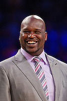 02 April 2013: Retired Los Angeles Lakers center (34) Shaquille O'Neal smiles during the Shaquille O'Neal jersey retirement ceremony during halftime of  the Lakers 101-81 victory over the Dallas Mavericks at the STAPLES Center in Los Angeles, CA.