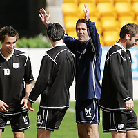 St Johnstone Training...27.04.07<br />Owen Coyle winds up Filipe Morais, Peter MacDonald and Mark Gallagher during training this morning before tomorrow's first division title clinc game against Hamilton.<br />see story by Gordon Bannerman Tel: 01738 553978 or 07729 865788<br />Picture by Graeme Hart.<br />Copyright Perthshire Picture Agency<br />Tel: 01738 623350  Mobile: 07990 594431