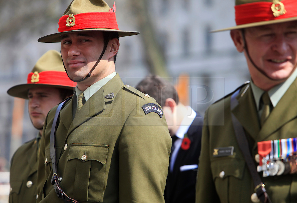 © Licensed to London News Pictures 25/04/2013.New Zealand soldiers attends ANZAC Day for wreath laying at the Cenotaph in central London..London, UK.Photo credit: Anna Branthwaite/LNP