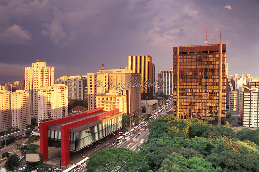 Paulista avenue, the most famous business address in this megacity. MASP-art museum in red at left, Trianon publc park at right. Sao Paulo, BRAZIL. .