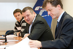 PR Tomi Trbovc, President Tomaz Lovse and director Matija Vojsk during press conference of Ski Association of Slovenia, on December 3, 2010 in SZS, Ljubljana, Slovenia. (Photo By Vid Ponikvar / Sportida.com)