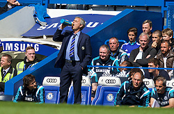 LONDON, ENGLAND - Sunday, May 3, 2015: Chelsea's manager Jose Mourinho takes a drink during the Premier League match against Crystal Palace at Stamford Bridge. (Pic by David Rawcliffe/Propaganda)