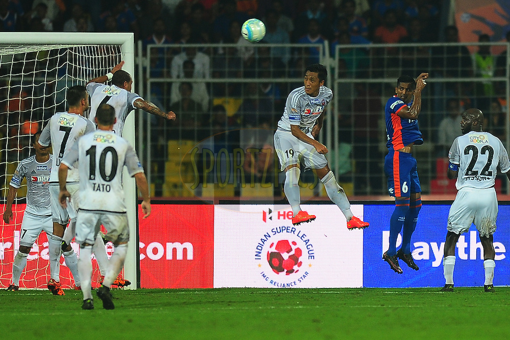 Arata Izumi of FC Pune City during match 8 of the Indian Super League (ISL) season 3 between FC Goa and FC Pune City held at the Fatorda Stadium in Goa, India on the 8th October 2016.<br /> <br /> Photo by Faheem Hussain / ISL/ SPORTZPICS