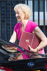 Downing Street, London, July 19th 2016. Environment, food and Rural Affairs Secretary Andrea Leadsom arrives at the first full cabinet meeting since Prime Minister Theresa May took office.