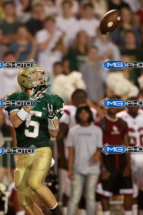 Sep 6, 2013; Mountain Brook, AL, USA; Mountain Brook's Hunter Branch  (5) catches a pass during the game against  Shades Valley . Mandatory Credit: Marvin Gentry