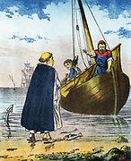 David Stratton, Scottish fisherman and Protestant martyr, paying his tithes with fish. Burned as a heretic in the 16th century. Mid-19th century illustration.