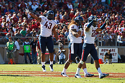 PALO ALTO, CA - OCTOBER 06: Defensive lineman Justin Washington #43 of the Arizona Wildcats, fullback Taimi Tutogi #31 and cornerback Jourdon Grandon #26 celebrate after recovering a fumble against the Stanford Cardinal during the fourth quarter at Stanford Stadium on October 6, 2012 in Palo Alto, California. The Stanford Cardinal defeated the Arizona Wildcats 54-48 in overtime. (Photo by Jason O. Watson/Getty Images) *** Local Caption *** Justin Washington; Taimi Tutogi; Jourdon Grandon