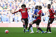 Marouane Fellaini of Manchester United wins the ball during the The FA Cup semi final match between Everton and Manchester United at Wembley Stadium, London, England on 23 April 2016. Photo by Phil Duncan.