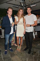 Left to right, HARRY MORGAN, MILLIE LINDSEY and LONAN O'HERLIHY at a reception hosted by Tiffany Watson in aid of The Eve Appeal held at The Phene, 9 Phene Street, London on 8th September 2015.