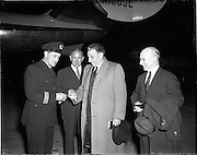 28/04/1958<br /> 04/28/1958<br /> 28 April 1958<br /> Inaugural Aerlinte flight to the United States from Dublin Airport. Picture shows Sean Lemass and John Leydon, Chairman of Aerlinte have their tickets checked before boarding.