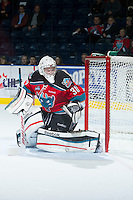 KELOWNA, CANADA - DECEMBER 5:  Jordon Cooke #30 of the Kelowna Rockets defends the net against the Swift Current Broncos at the Kelowna Rockets on December 5, 2012 at Prospera Place in Kelowna, British Columbia, Canada (Photo by Marissa Baecker/Shoot the Breeze) *** Local Caption ***