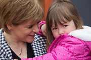 Monday1st Mayl 2017, Inch, Aberdeenshire, Scotland.<br /> SNP Leader Nicola Sturgeon will highlight the contrast between the SNP&rsquo;s investment in childcare and Tory cuts to child tax credits as she visits Dreams Daycare nursery in Insch, Aberdeenshire. <br /> <br /> Pictured: The First Minister Nicola Sturgeon with Neve Grant, 3 <br /> <br /> (Photo: Ross Johnston/Newsline Media)