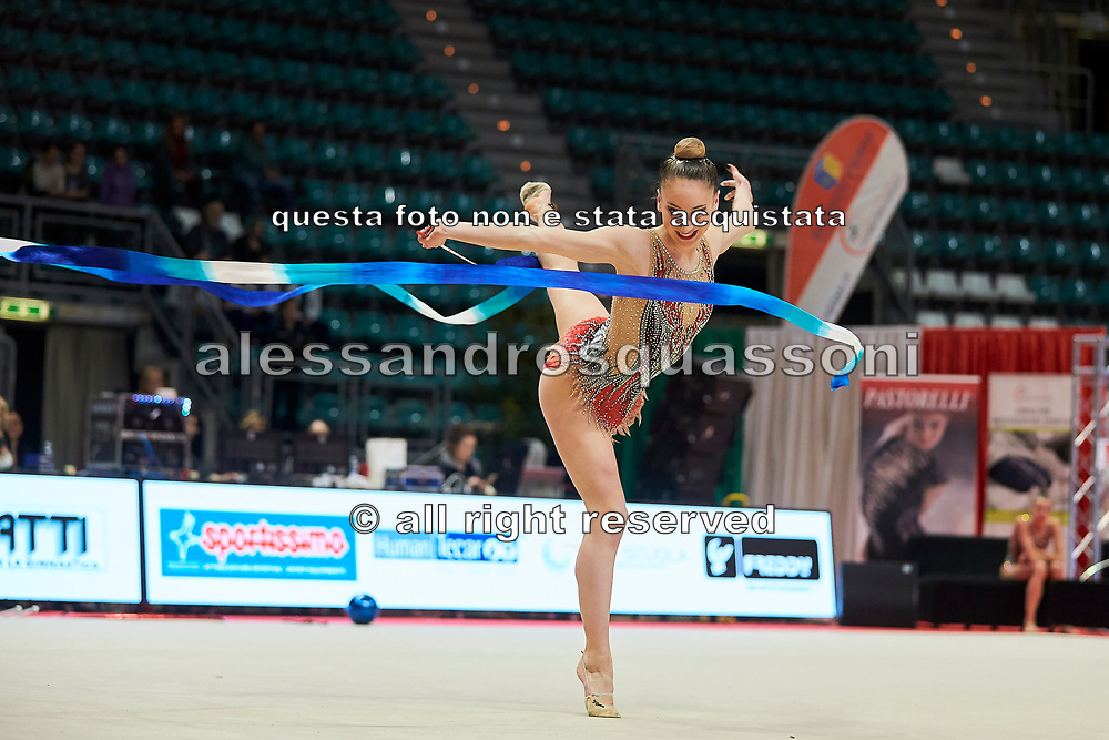 Talisa Torretti from Ginnastica Fabriano team during the Italian Rhythmic Gymnastics Championship in Bologna, 9 February 2019.