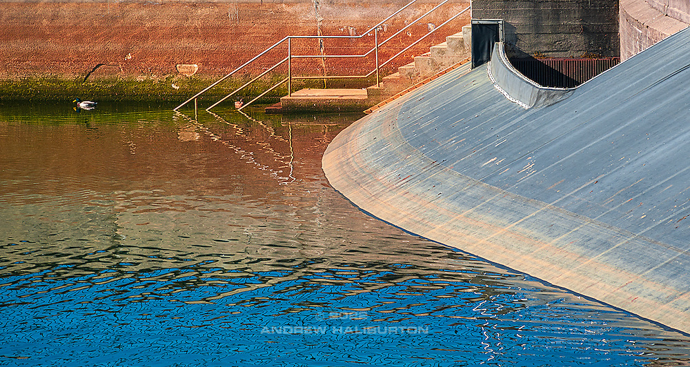 Spillway detail and access stairs at Reservoir 5, Mount Tabor Park Portland Oregon