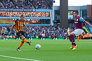 Kamil Grosicki of Hull City gets a shot in on goal ahead of John Terry of Aston Villa during the Sky Bet Championship match at Villa Park, Birmingham<br /> Picture by Matt Wilkinson/Focus Images Ltd 07814 960751<br /> 05/08/2017