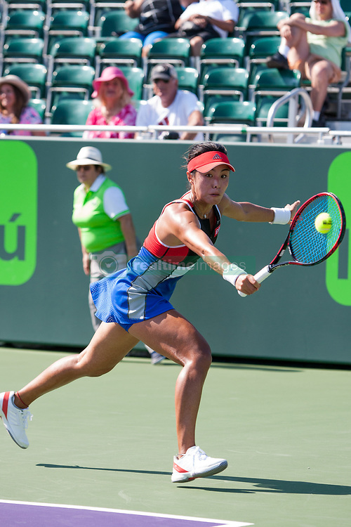 March 20, 2018 - Key Biscayne, FL, U.S. - KEY BISCAYNE, FL - MARCH 20: Qiang Wang (CHN) competes during the qualifying round of the 2018 Miami Open on March 20, 2018, at Tennis Center at Crandon Park in Key Biscayne, FL. (Photo by Aaron Gilbert/Icon Sportswire) (Credit Image: © Aaron Gilbert/Icon SMI via ZUMA Press)