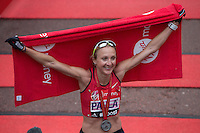 Great Britain's Paula Radcliffe after crossing the line on The Mall to complete her final marathon at the Virgin Money  London Marathon, Sunday 26th April 2015.<br /> <br /> Dillon Bryden for Virgin Money London Marathon<br /> <br /> For more information please contact Penny Dain at pennyd@london-marathon.co.uk