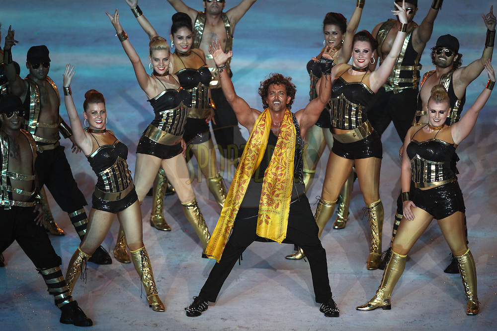 Bollywood Actor Hrithik Roshan performs during the Pepsi IPL 2015 opening night event held at the Salt Lake Stadium in Kolkata, India on the 7th April 2015.<br /> <br /> Photo by:  Deepak Malik / SPORTZPICS / IPL