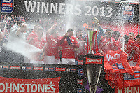 Johnstone's Paint Trophy Final - 07/04/2013 - <br /> Wembley Stadium - Crewe Alexandra vs Southend United<br /> Crewe's goal scorer and captain Luke Murphy (center) celebrates with team-mates and the trophy