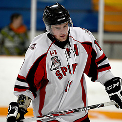STOUFFVILLE, ON - Feb 6 : Ontario Junior Hockey League Game Action between the Stouffville Spirit Hockey Club and the Aurora Tigers Hockey Club.  Daryl Thomson #10 of the Stouffville Spirit Hockey Club during third period game action.<br /> (Photo by Michael DiCarlo / OJHL Images)