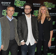 PARIS - DECEMBER 09:  Christopher Waltz, Seth Rogen and Cameron Diaz attend 'The Green Hornet' Photocall at Hotel Royal Monceau Raffle on December 9, 2010 in Paris, France.  (Photo by Tony Barson/WireImage)