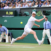LONDON, ENGLAND - JULY 14: Sam Querrey of the United States in action against Marin Cilic of Croatia in the Gentlemen's Singles Semi-final of the Wimbledon Lawn Tennis Championships at the All England Lawn Tennis and Croquet Club at Wimbledon on July 14, 2017 in London, England. (Photo by Tim Clayton/Corbis via Getty Images)
