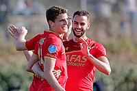 *Thomas Ouwejan* of AZ Alkmaar, scores the first goal to make it 1-0 (m), *Guus Til* of AZ Alkmaar (l), *Pantelis Hatzidiakos* of AZ Alkmaar (r)