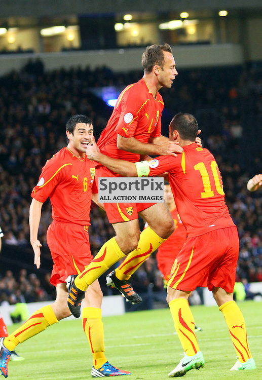 Nicole Novesi macedonia celebrates scoring the first goal in the .FIFA World Cup Qualifier scotland v macedonia, hampden stadium, glasgow .Kevin McGlynn(c)  | StockPix.eu.