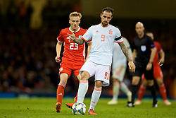 CARDIFF, WALES - Thursday, October 11, 2018: Spain's Paco Alcácer (R) and Wales' Matthew Smith during the International Friendly match between Wales and Spain at the Principality Stadium. (Pic by David Rawcliffe/Propaganda)
