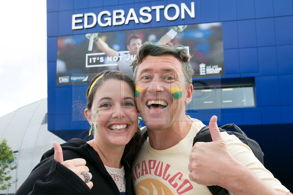 © Licensed to London News Pictures. 29_07_2015. Pictured , aussir fans RENAE and RYAN from Perth, Australia. Cricket fans arriving at Edgbaston cricket  ground for the start of the third test against Australia. Photo credit : Dave Warren/LNP