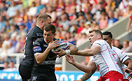 Danny Tickle (R) of Hull Kingston Rovers challenge in the air for the ball against Jamie Shaul (L) of Hull FC  during the Betfred Super League match at the Dacia Magic Weekend, St. James's Park, Newcastle<br /> Picture by Stephen Gaunt/Focus Images Ltd +447904 833202<br /> 20/05/2018