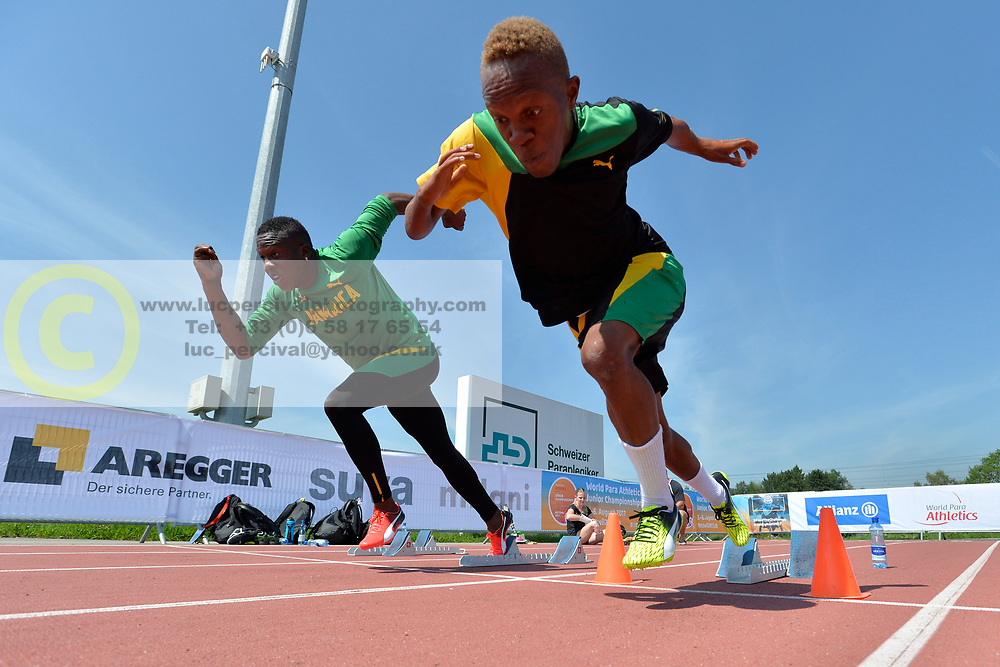 02/08/2017; Thomas, Tevaughn Kevin, T46, JAM, Brown, Jason Dennis, T12, Training at 2017 World Para Athletics Junior Championships, Nottwil, Switzerland