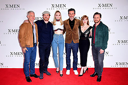 Hutch Parker (left to right), Michael Fassbender, Sophie Turner, Simon Kinberg, Jessica Chastain, James McAvoy attending the X-Men: Dark Phoenix photocall held at Picturehouse Central, London.