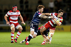 Billy Burns of Gloucester Rugby is caught by Sam James of Sale Sharks  - Mandatory by-line: Matt McNulty/JMP - 16/09/2016 - RUGBY - Heywood Road Stadium - Sale, England - Sale Sharks v Gloucester Rugby - Aviva Premiership