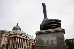 "© Licensed to London News Pictures. 29/09/2016. London, UK. The 11th commission for the Fourth Plinth ""Really Good"" by David Shrigley is unveiled in Trafalgar Square. London on 29 September 2016. Photo credit: Tolga Akmen/LNP"