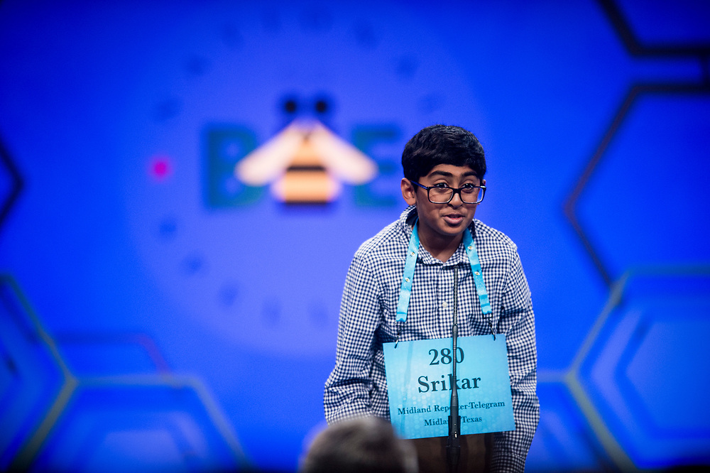 Srikar Chamarthi, 12, from Odessa, Texas, participates in the finals of the 2017 Scripps National Spelling Bee on Thursday, June 1, 2017 at the Gaylord National Resort and Convention Center at National Harbor in Oxon Hill, Md.      Photo by Pete Marovich/UPI