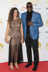 Victoria House, London, April 26th 2016.  Cleveland Watkiss and Emily Dankworth photographed at the Jazz FM awards at Victoria House, Bloomsbury, London.