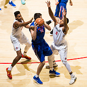 27 February 2018: San Diego State men's basketball hosts Boise State in it's last meet up of the regular season at Viejas Arena. San Diego State Aztecs forward's Malik Pope (21) and Matt Mitchell (11) double team Boise State Broncos forward Zach Haney (11) in the first half. The Aztecs lead 38-37 at halftime. <br /> More game action at sdsuaztecphotos.com